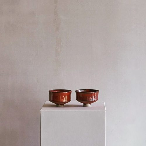 Two matcha tea bowls, coated with an iron glaze, dark red - I am in love with macha tea, that is why I often make some new bowls. During my trip across Japan I drunk and bought a lot of wonderful green matcha tea: So great to have it here at home now.
